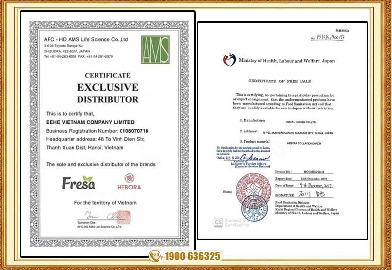 Giấy chứng nhận chất lượng sản phẩm hebora collagen nhật bản