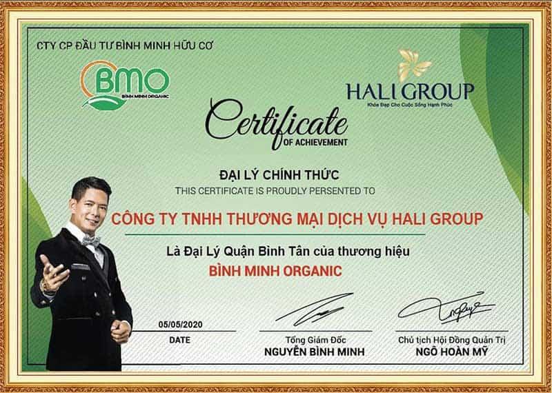 Giấy chứng nhận đại lý Bình Minh Organic