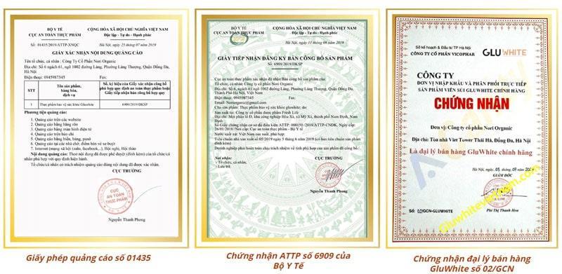 giấy chứng nhận an toàn cam kết từ viên sủi Gluwhite