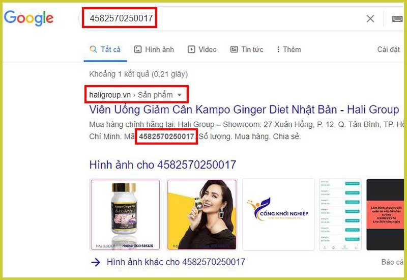 kiểm tra chính hãng kampo ginger diet nhật bản bằng công cụ tìm kiếm trên google