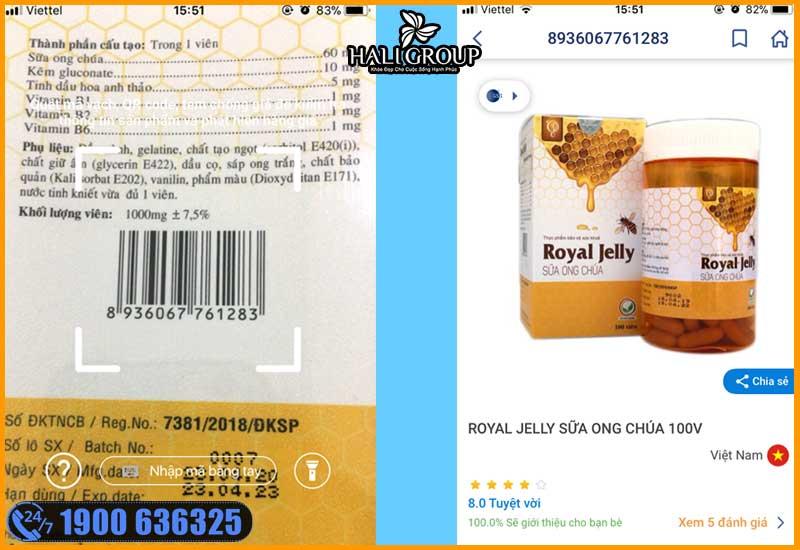 quét mã vaạch sản phẩm viên sữa ọng chúa schon royal trên icheck để kiểm tra