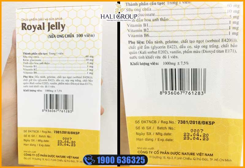 quan sát trực quang sản phẩm viên uống sữa ong chúa schon royal jelly