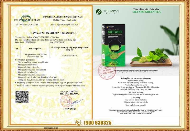Giấy chứng nhận quảng cáo của sản phẩm Metabo Green Tea
