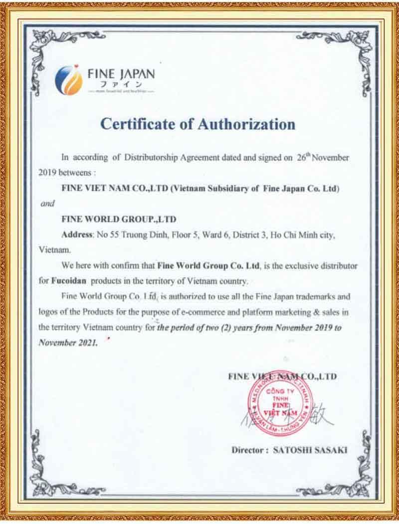 » Chứng nhận Tảo Nâu Fucoidan Nhật Bản được phân phối chính hãng tại thị trường Việt Nam